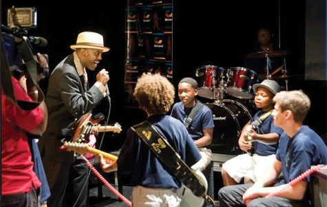 Fernando Jones, who is pictured above performing with a group of students at the camp, said that the Blues Camp is the crown jewel of the Blues Kids of America brand.