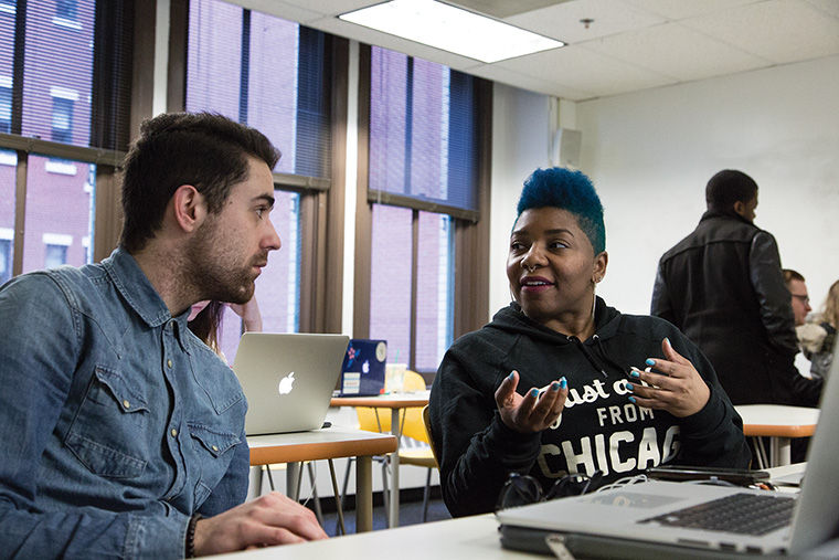 "Students Paul Abood and Jewell Donaldson help rebrand Lupe Fiasco's nonprofit organization in ""Agency,"" a class in the Communication and Media Innovation Department that works with clients on their marketing needs."