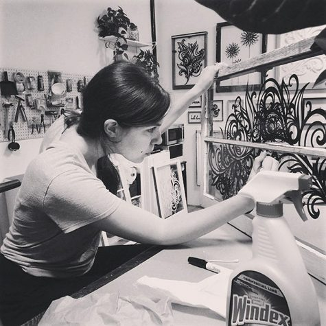 Emmy Star Brown creates her marker artwork using items found at flea markets and thrift shops around town.