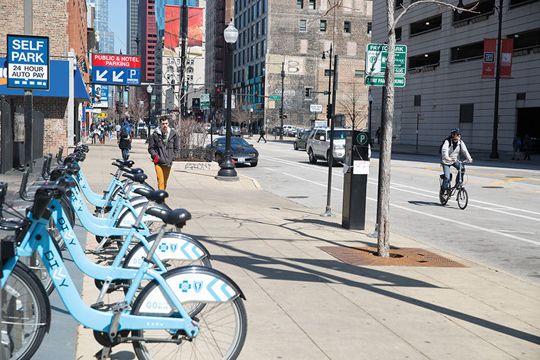 Many students and faculty commute to campus using a DIVVY bike from various pick-up locations such as the one at Wabash Avenue and 8th Street.