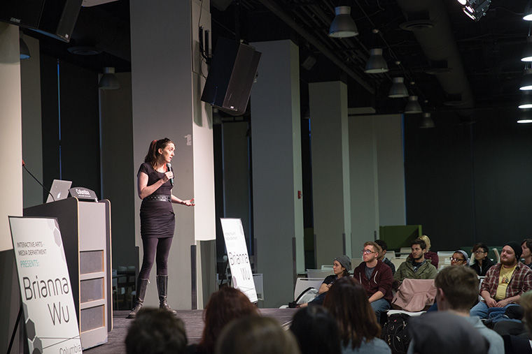 Game+developer+Brianna+Wu+spoke+to+the+college+on+April+8+about+sexism+in+the+gaming+industry.