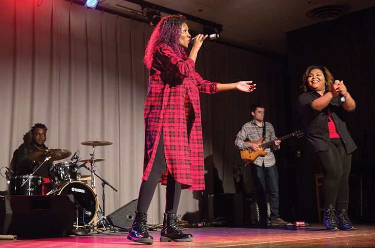 Shantel Cribbs and Jina Katura of ConSoul perform to a full audience during Columbia's Got Talent on April 22 at Stage Two in the 618 S. Michigan Ave. Building.