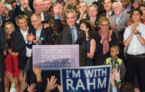 "Mayor Rahm Emanuel speaks to his supporters at Chicago Plumbers Hall, 1340 W. Washington Blvd., after being reelected April 7. Emanuel and challenger Jesus ""Chuy"" Garcia were forced into Chicago's first mayoral runoff election after Emaunel failed to secure 50 percent of the vote."