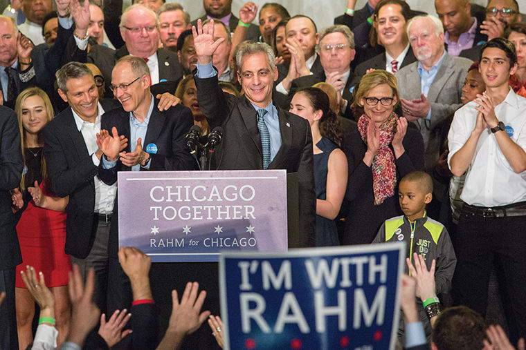 """Mayor Rahm Emanuel speaks to his supporters at Chicago Plumbers Hall, 1340 W. Washington Blvd., after being reelected April 7. Emanuel and challenger Jesus """"Chuy"""" Garcia were forced into Chicago's first mayoral runoff election after Emaunel failed to secure 50 percent of the vote."""