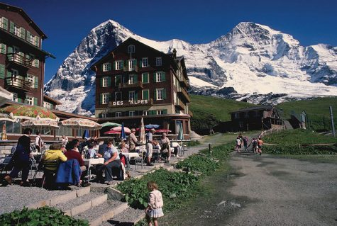 Cafe and Peaks at Grindelwald