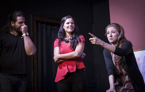 Under the Gun actors held back laughs while sharing personal stories with the audience. Left to right: Nick Bernardi, Erin Diehl and Sam Howard.