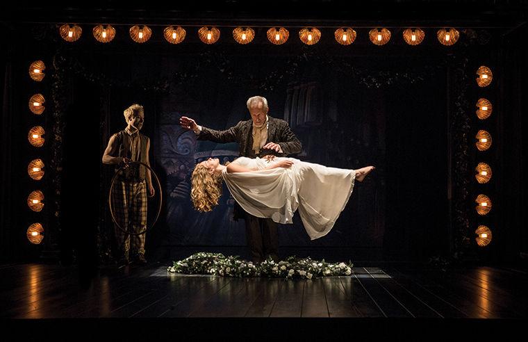 "Prospero levitates his daughter Miranda in Shakespeare Theater's ""The Tempest."""