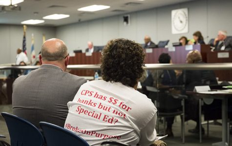 Many attended the Board of Education meeting held at CPS Loop Office to support special education following recent budget cuts.