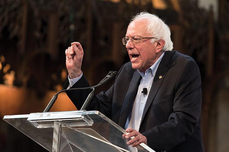 Democratic presidential hopeful Bernie Sanders, a graduate of the University of Chicago, spoke to supporters inside the university's Rockefeller Chapel on Sept. 28.