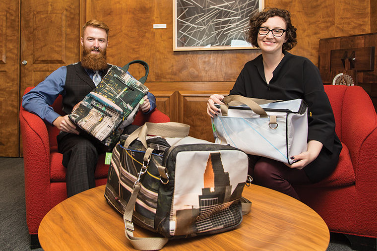 The designs of Dillon Halford, a freshman fashion studies major, and Anne Tilma, a 2015 fashion studies alumna were chosen to be sold online through the United Airlines shop.