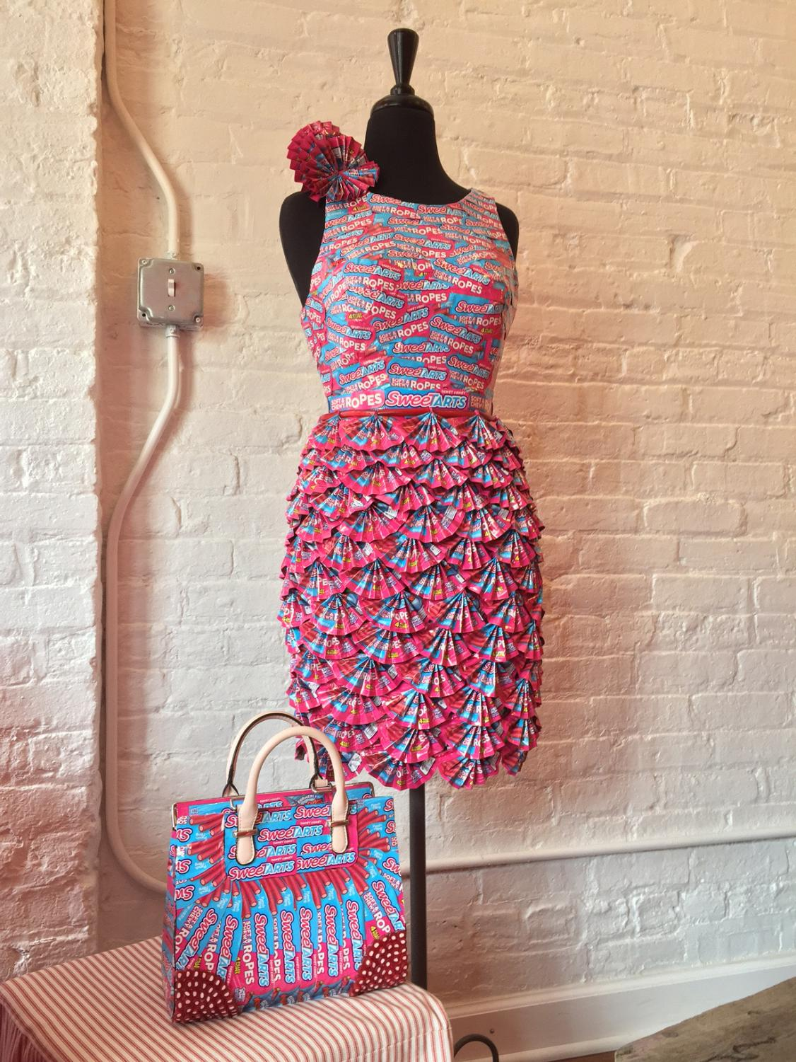 A dress made entirely of SweeTARTSwrappers is on display at the Candyality museum,835 N. Michigan Ave., 7th Floor.