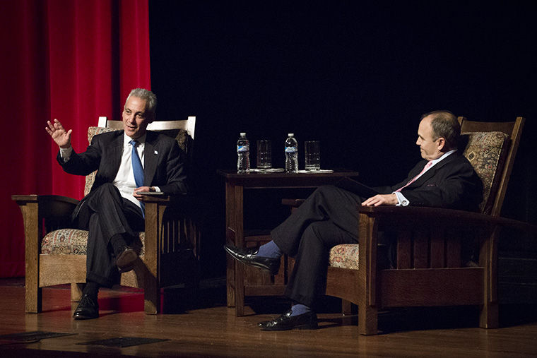 Mayor Rahm Emanuel in conversation with Scott Turow at Cindy Pritzker Auditorium on Oct 29.