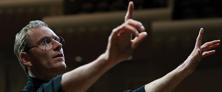 In this image released by Universal Pictures, Michael Fassbender appears as Steve Jobs in a scene from the film,