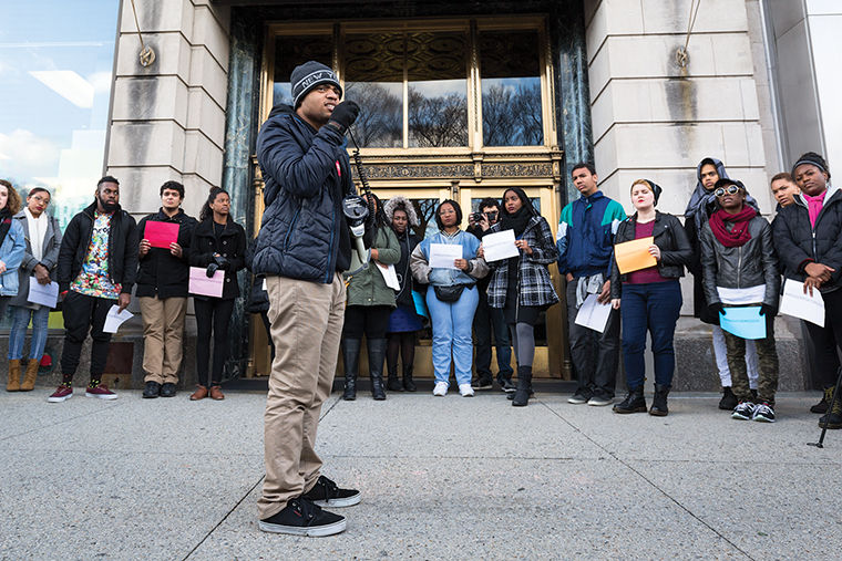 Jerel+Ballard%2C+a+junior+journalism+major%2C+president+of+SGA+and+community+chair+representative+for+BSU%2C+led+students+at+a+Stand+in+Solidarity+event+in+support+of+students+at+the+University+of+Missouri.%C2%A0