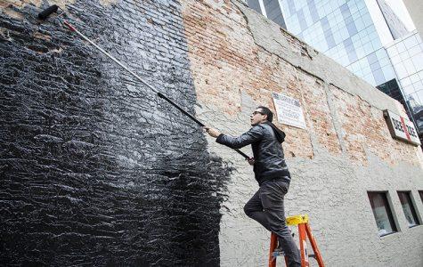 Street artist gives campus building a new facade