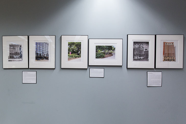 """The """"Creative Properties: Columbia's South Loop Sidewalk Campus Since 1977"""" exhibit, located on the second floor of the library, located at 624 S. Michigan Ave., gives Columbia a glimpse of how it became part of the South Loop through historical and current photos of the buildings."""