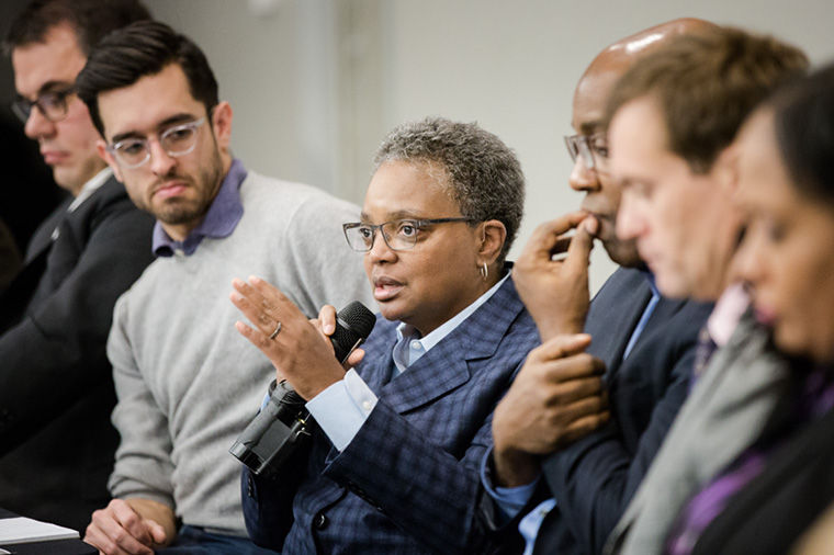 Chicago Police Board President Lori Lightfoot spoke about  transparency at a panel on Jan. 20 at East-West University.