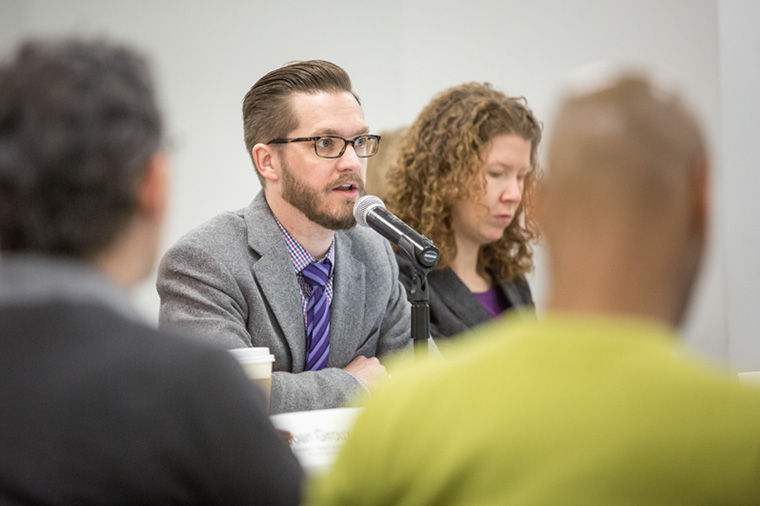 Greg Foster-Rice, president of The Executive Committee of the Faculty Senate during a Facutly Senate meeting at 33 E Congress on Feb 12.