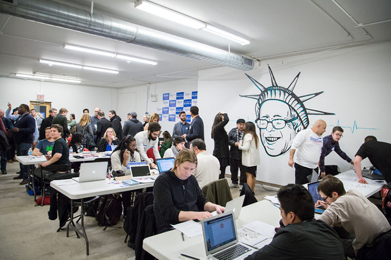 Supporters of Bernie Sanders went to the opening of his campaign office in the South Loop on Feb. 17.