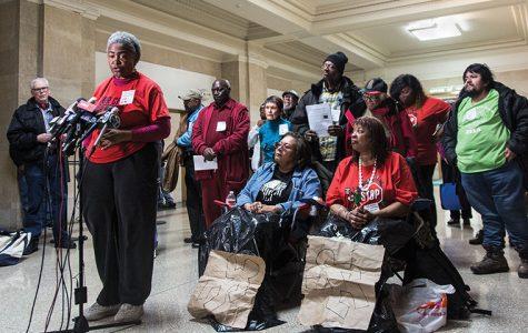 Mental Health Movement activists demanded Mayor Emanuel reopen six shuttered mental health clinics at a Feb. 23 City Hall demonstration.