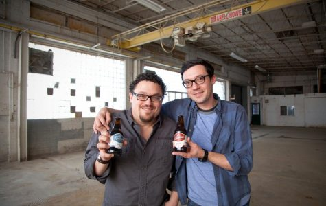 Ale Syndicate co-founders and brothers Jesse (from left) and Samuel Evans in their Logan Square brewery before the site was filled with equipment and product.