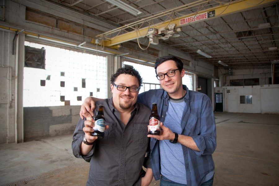 Ale+Syndicate+co-founders+and+brothers+Jesse+%28from+left%29+and+Samuel+Evans+in+their+Logan+Square+brewery+before+the+site+was+filled+with+equipment+and+product.