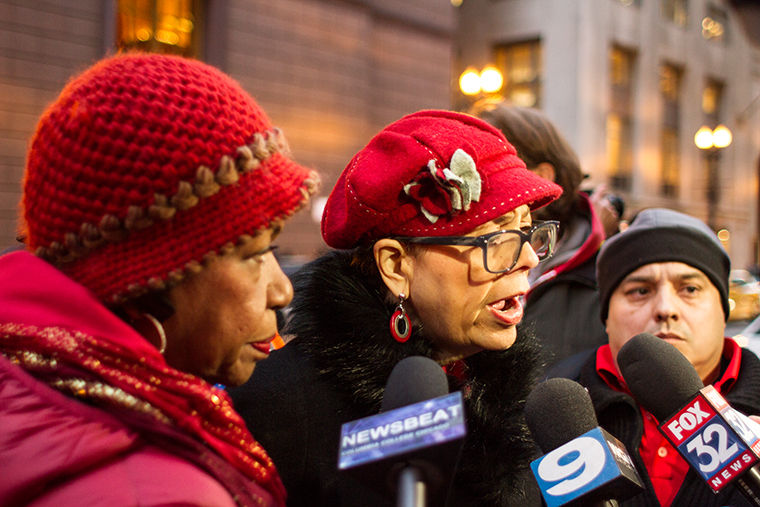 Karen Lewis, president  of CTU, spoke to the media during a rally in the Loop on Feb. 4.