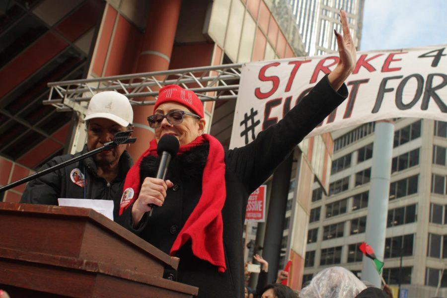 CTU President Karen Lewis (top) addresses crowd at the James R. Thompson Center April 1.