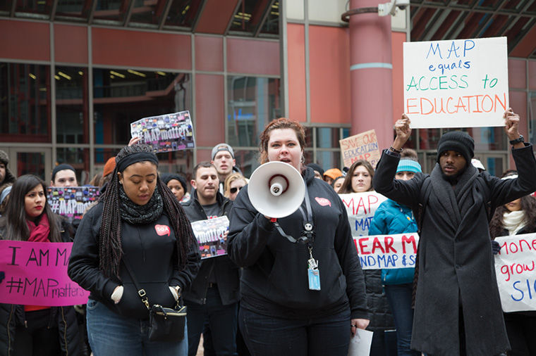 Students protested Illinois' unfulfilled promise of distributing Monetary Award Program grants outside the Thompson Center Feb. 16.