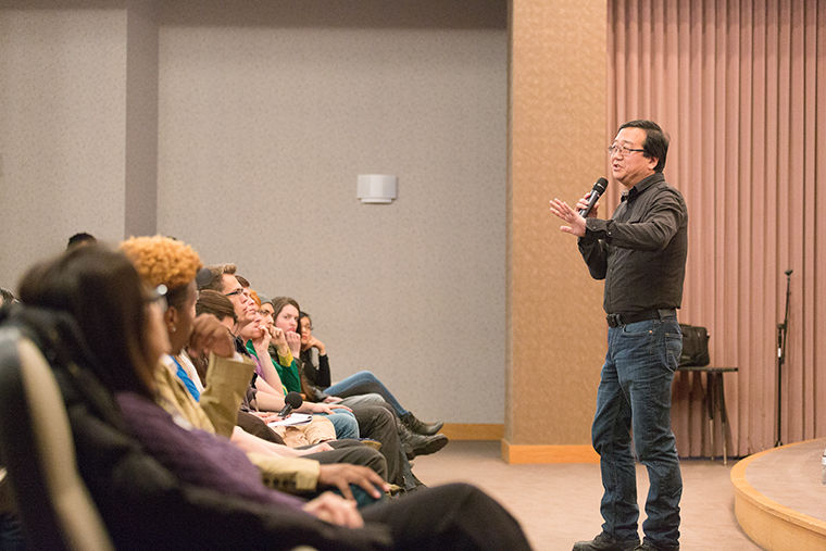 Cinematographer and 1980 film alumnus Michael Goi talked about his filming techniques at an April 19 lecture and Q&A in the Film Row Cinema auditorium in the 1104 S. Wabash Ave. Building.