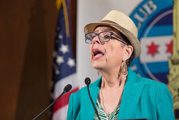 Chicago Teachers Union President Karen Lewis spoke to attendees of the City Club of Chicago luncheon April 20, focusing on education issues, lack of funding for CPS and CTU contract negotiations.