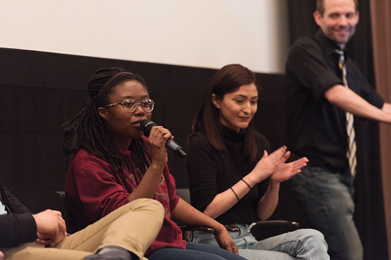 """Bree Bracey (left), a sophomore theatre major and panelist for """"The National Epidemic is Our Epidemic: Rape on College Campus"""" discussion, brought the conversation of campus sexual assault to the DocYourWorld collective."""