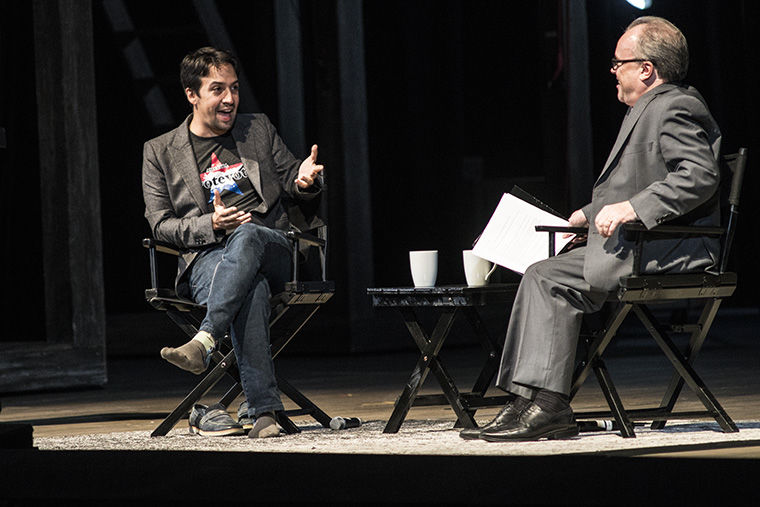 'Hamilton' creator, Lin-Manuel Miranda, talked about his writing and applauded Chicago's theater scene in a conversation with Chicago Tribune theater critic Chris Jones at the Lyric Opera House Sept. 23.