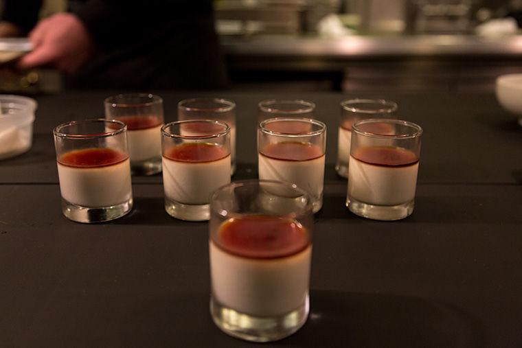 For desert, Jonah Reider made a pannacotta with carmelized apple cider glaze for his month-long residency.