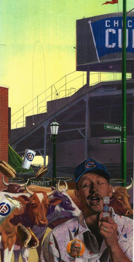 """Artist David Michael Beck created his painting,""""Opening Day"""" (above) for the Chicago Tribune depicting the opening of Wrigley Field."""