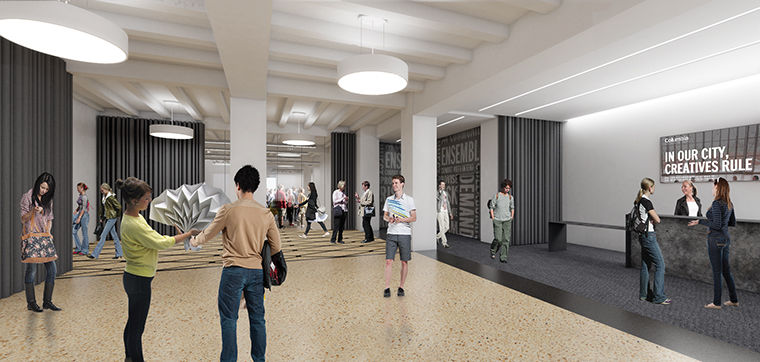Conceptual renderings for the Getz Theater renovations show designs for both the theater and lobby area at 72 E. 11 St.