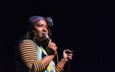 Rebecca O' Neal, co-host and notable Chicago comic, performing her sketch at Cole's Bar, 2338 N. Milwaukee Ave., Oct 26.