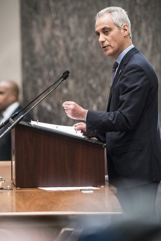 Mayor Rahm Emanuel pointed to the city's lower budget shortfall after increasing taxes and fees during his budget address Oct. 11 City Council speech.