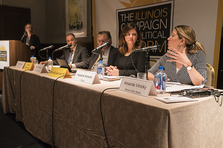 Political experts discussed the impact of the 2016 presidential candidates on state and local elections Oct. 17 at The Standard Club, 320 S. Plymouth Court.