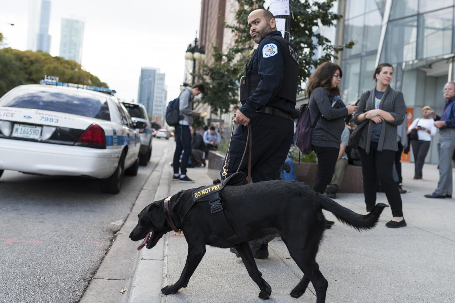 Members of Columbia College were evacuated from the 600 S. Michigan Ave. Building due to a bomb threat made by an anonymous caller Oct. 19.
