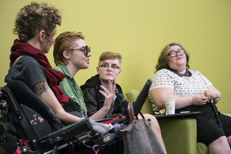 "Chicago artist and activist Carrie Kaufman (far left) visited Columbia Oct. 6 as part of Common Ground's ""Identi(tea)s: Queerness and Disability."""