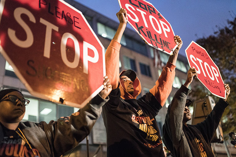 Protesters+calling+for+police+reform+gathered+Oct.+20+outside+CPD+Headquarters+on+the+two-year+anniversary+of+the+death+of+Laquan+McDonald%2C+who+was+killed+by+a+CPD+officer.