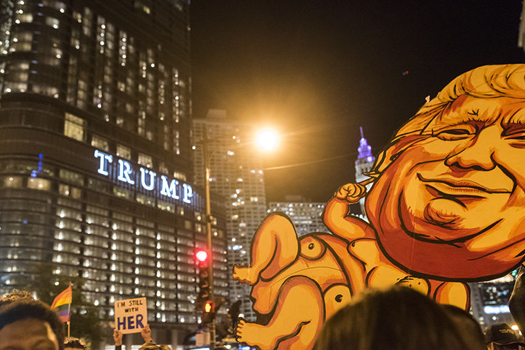 In response to the election of Donald Trump, thousands of protesters took to the street Nov. 9. The protest shut down major streets in the Loop during rush hour and late into the night.