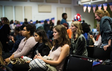 Students follow election night results at Presidential Party