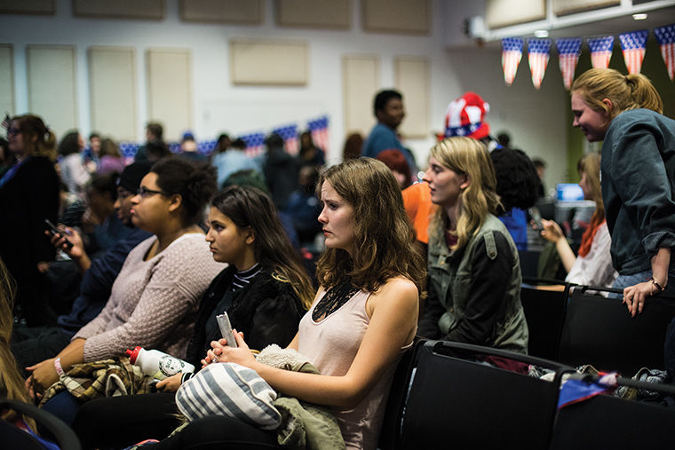 Students watched the election night results Nov. 8 at the Student Government Association's Presidential Party, the night before President-elect Donald Trump received the required number of electoral votes to become the 45th president of the U.S.