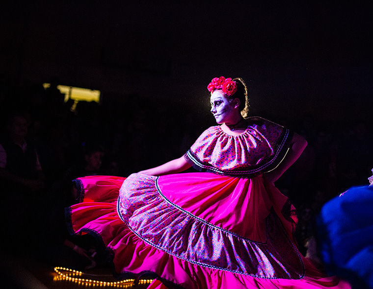New Era Dance team performed traditional dances for Elevarte's Muerto de la Risa in Pilsen on Nov. 2.