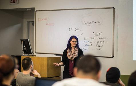 Rebecca Hallstedt, senior interactive arts & media major, held a discussion Nov. 3 in the 916 S. Wabash building, to help students prepare for the annual Game Developers Conference held in February.