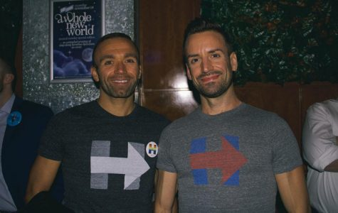Brothers Dan and Joe Goebel showed off their support for Hillary Clinton with t-shirts and stickers at Sidebar's election night viewing party Nov. 8.