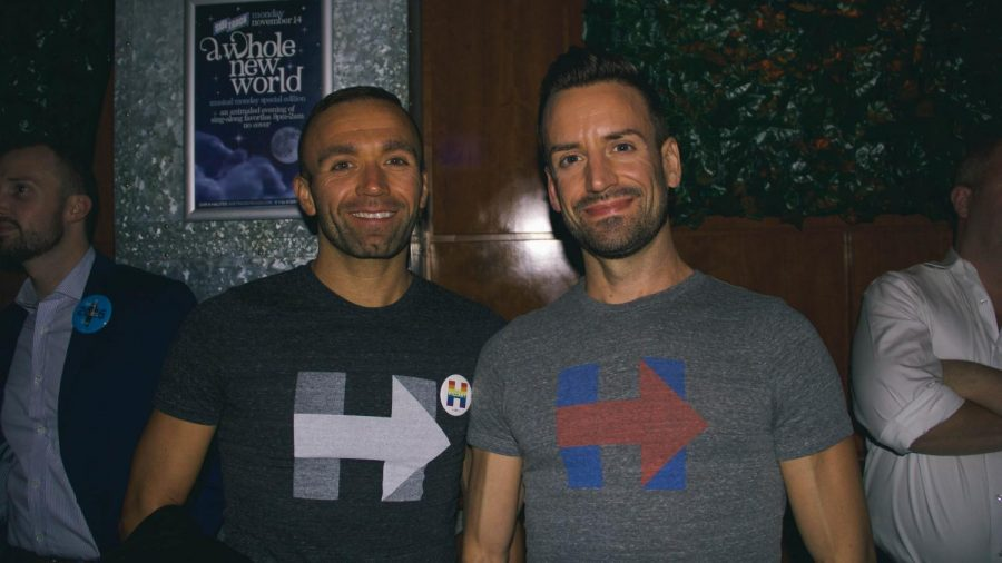 Brothers+Dan+and+Joe+Goebel+showed+off+their+support+for+Hillary+Clinton+with+t-shirts+and+stickers+at+Sidebar%27s+election+night+viewing+party+Nov.+8.%C2%A0