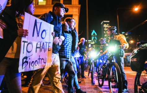 "Protests lasted into the early hours of Nov. 10 and continued that evening with hundreds marching downtown shouting, ""We reject the president-elect,"" and other expressions of concern."